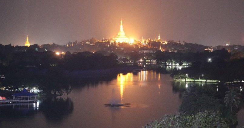 Kandawgyi Lake at Night and the Great Shwedagon Pagoda by Day